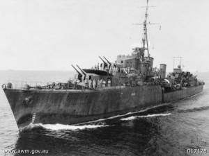 """HMAS Warramunga (AWM 017128)"" by Roy Driver - This image is available from the Collection Database of the Australian War Memorial under the ID Number: 017128"